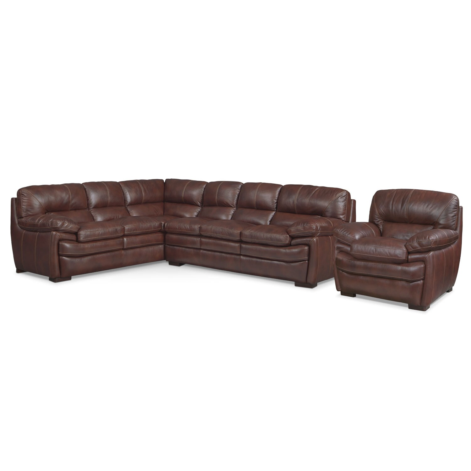 [Peyton Chestnut 2 Pc. Sectional and Chair]