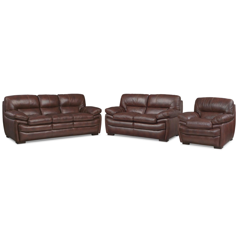 Living Room Furniture - Peyton Chestnut 3 Pc. Living Room