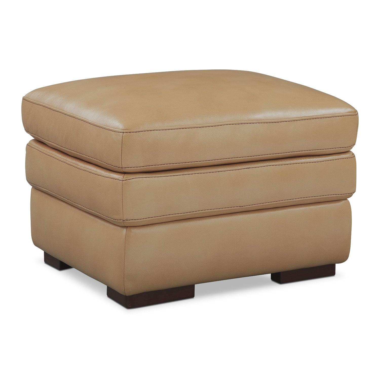 Living Room Furniture - Peyton Taupe Ottoman