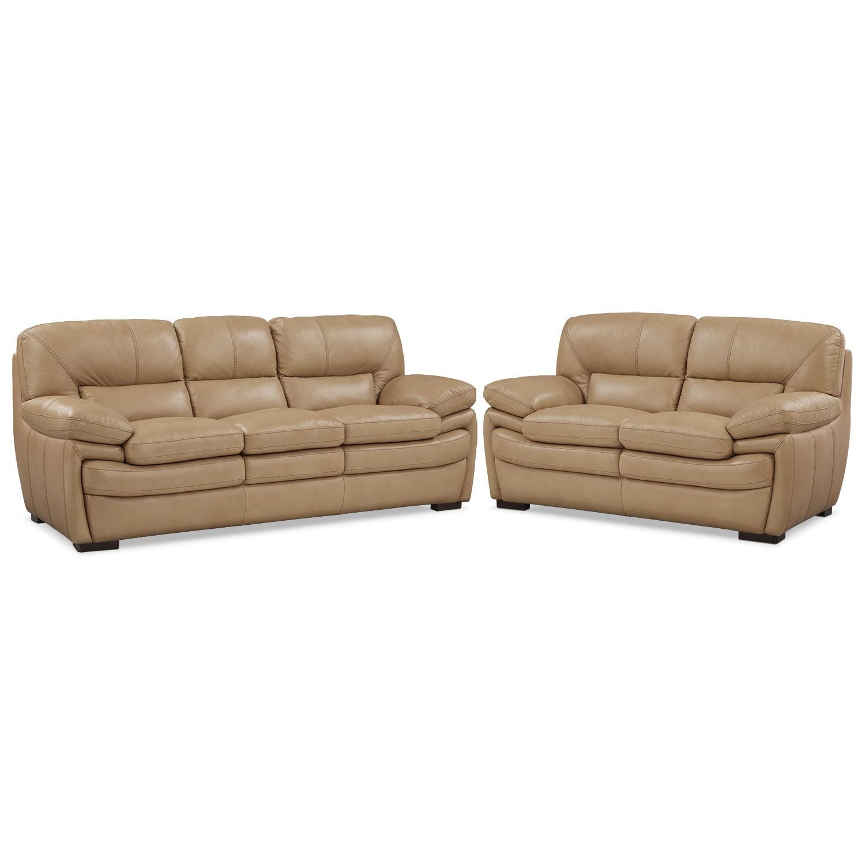 Living Room Furniture - Peyton Taupe 2 Pc. Living Room