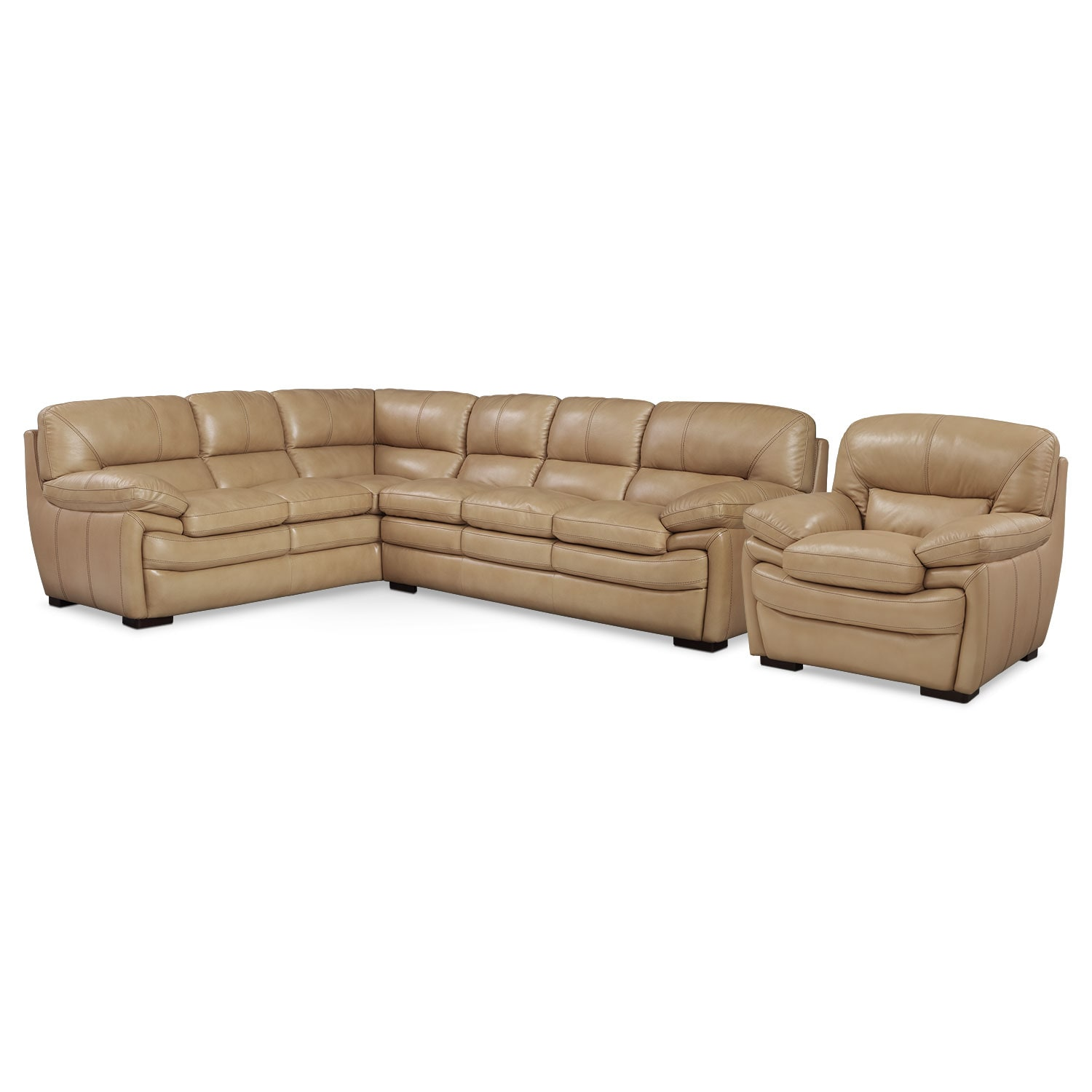 Living Room Furniture - Peyton Taupe 2 Pc. Sectional and Chair