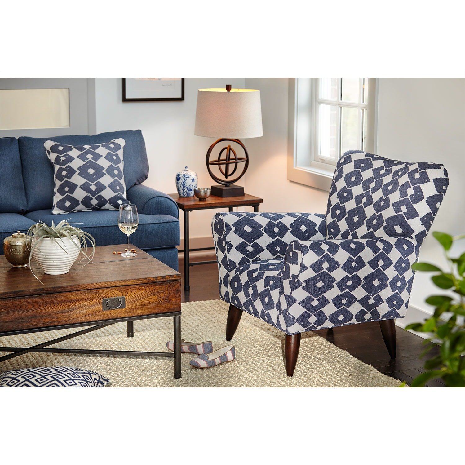 Jessie Accent Chair - Blue | Value City Furniture and Mattresses