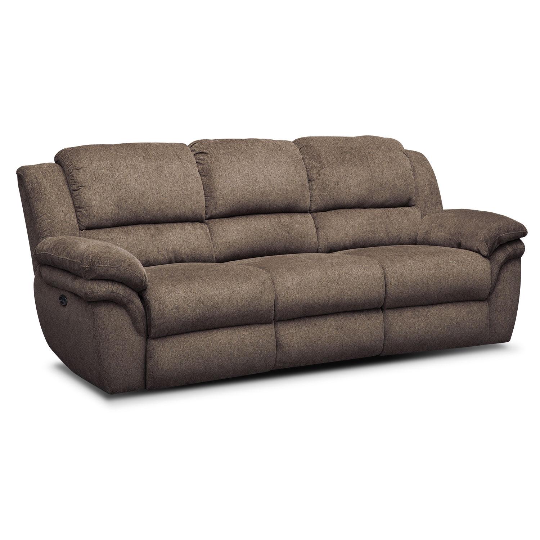 Living Room Furniture - Omni Mocha Power Reclining Sofa