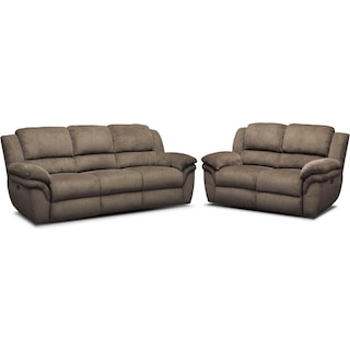 Aldo Dual-Power Reclining Sofa and Loveseat Set