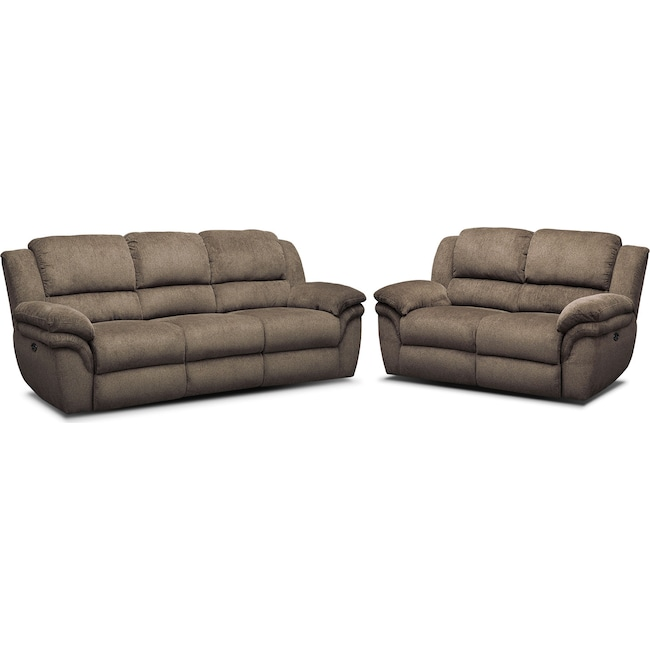 Living Room Furniture - Aldo Power Reclining Sofa and Loveseat Set - Mocha
