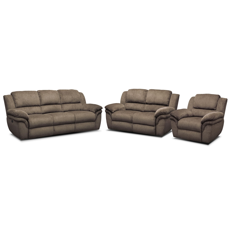 Living Room Furniture - Omni Mocha 3 Pc. Power Reclining Living Room