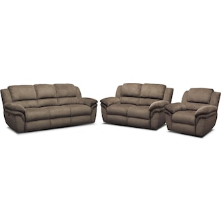 Aldo Power Reclining Sofa, Loveseat and Recliner Set - Mocha