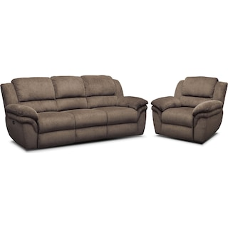 Aldo Power Reclining Sofa and Recliner Set - Mocha