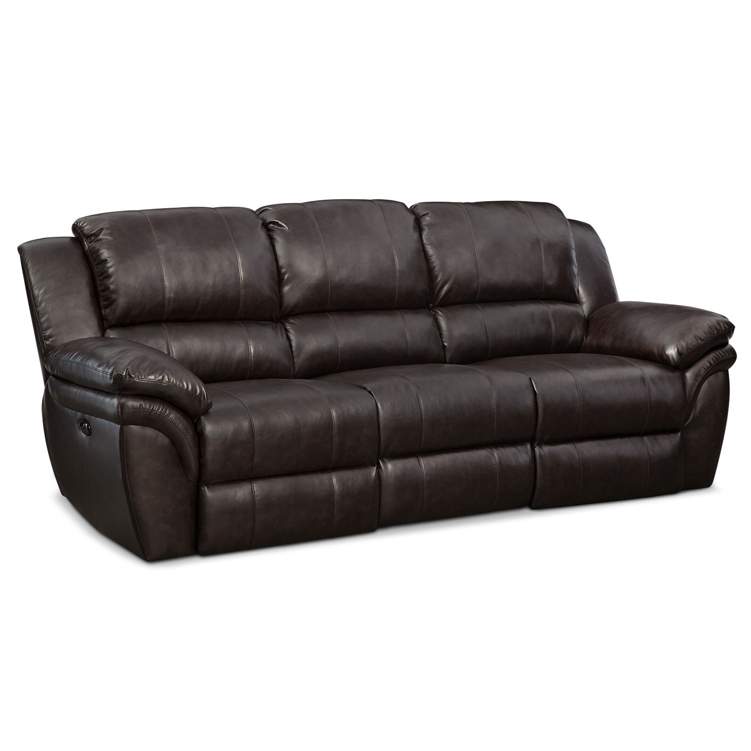 Living Room Furniture - Omni Brown Power Reclining Sofa