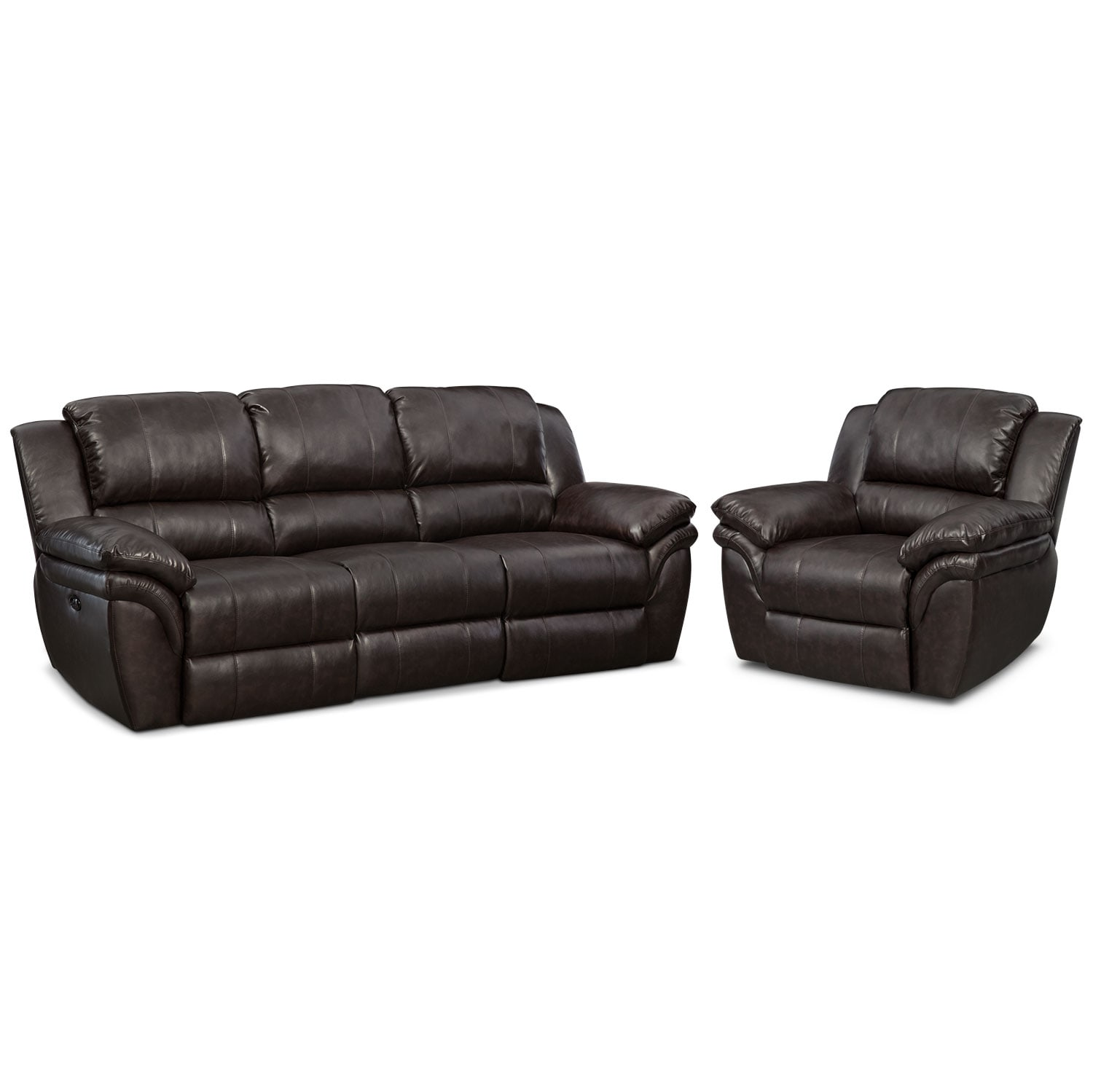 Living Room Furniture - Omni Brown 2 Pc. Power Reclining Living Room w/ Power Recliner