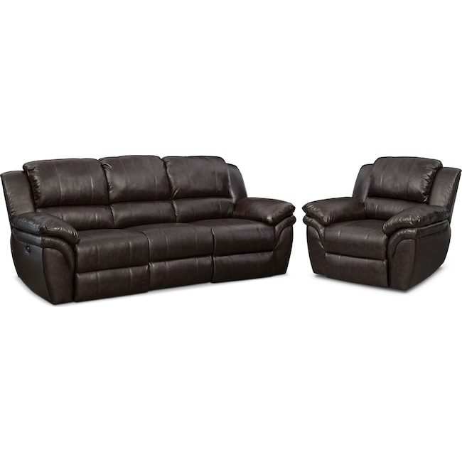 Living Room Furniture - Aldo Power Reclining Sofa and Recliner Set - Brown