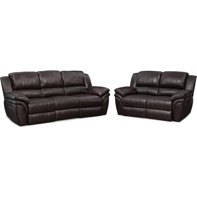 Living Room Furniture - Aldo Power Reclining Sofa and Loveseat Set - Brown