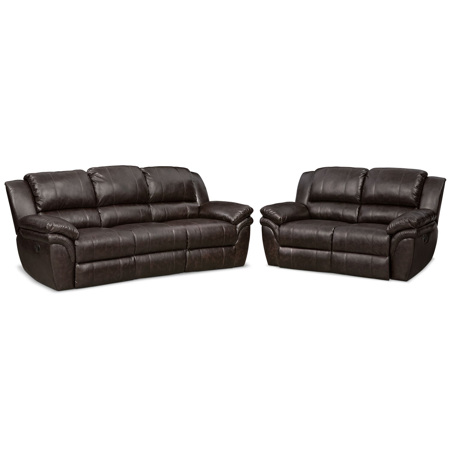 Aldo Manual Reclining Sofa And Loveseat Set Brown Value City Furniture And Mattresses