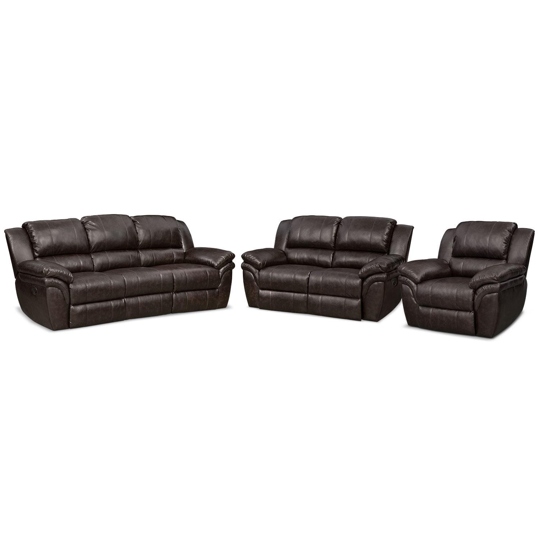 Living Room Furniture - Omni Dual Manual-Reclining Sofa, Dual Manual-Reclining Loveseat and Manual Recliner Set - Brown