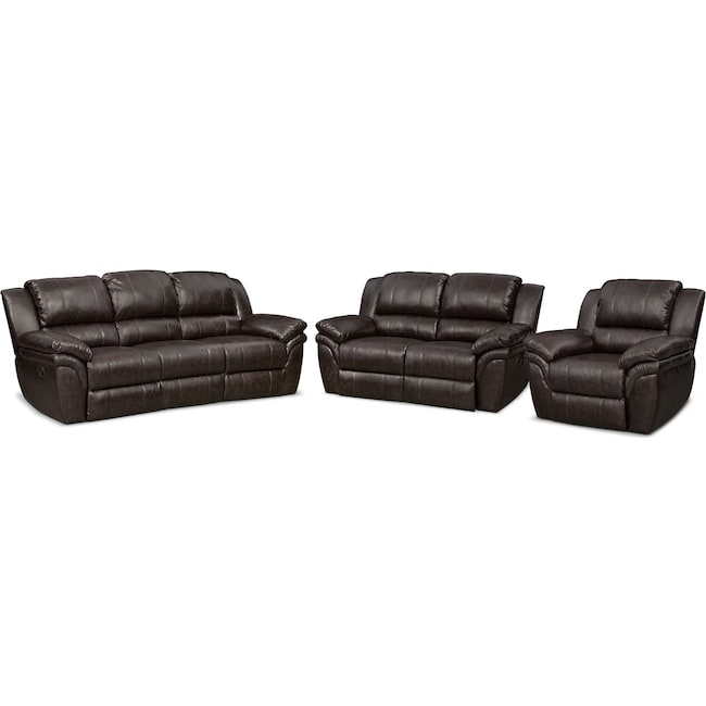 Living Room Furniture Aldo Manual Dual Reclining Sofa Loveseat And Recliner Set