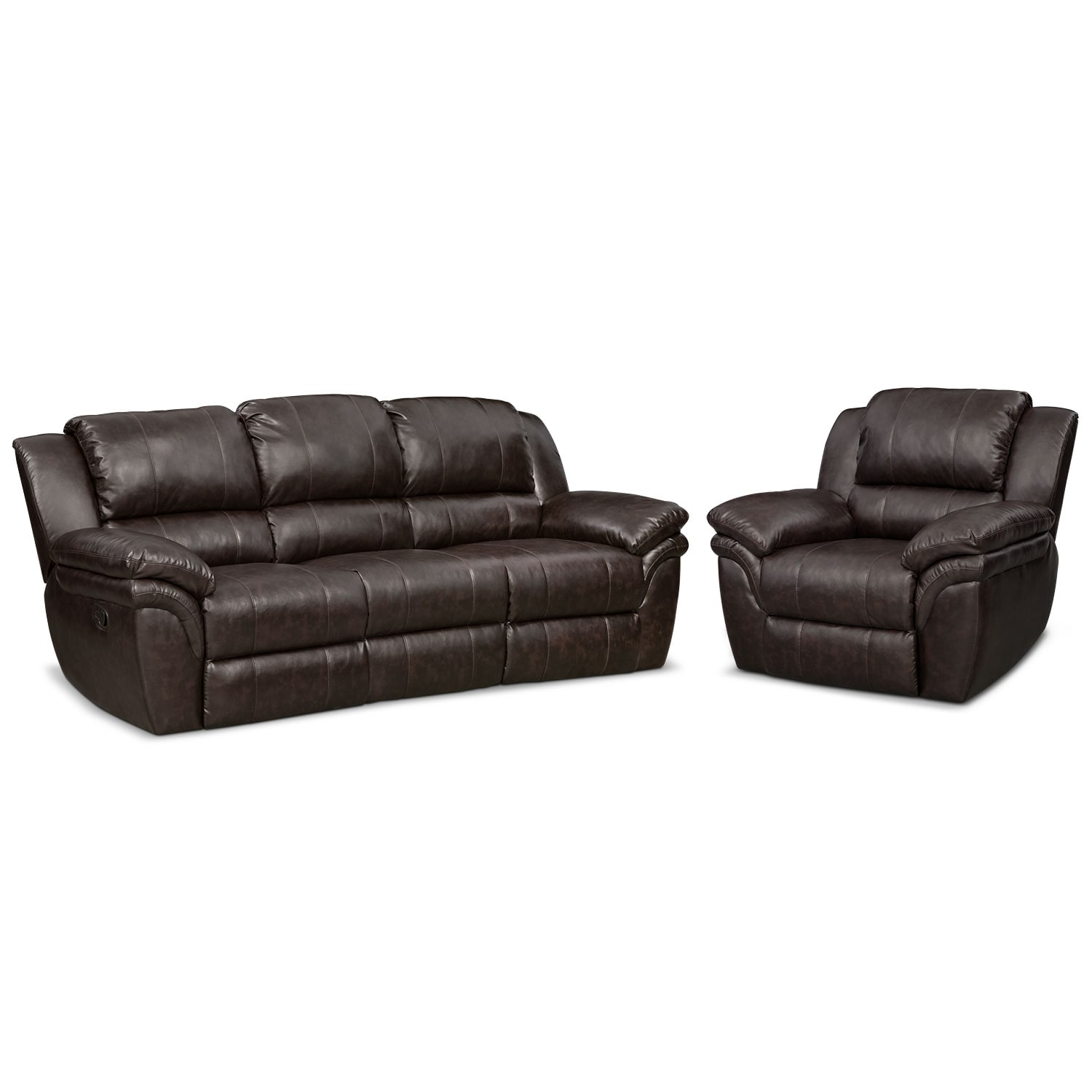 Living Room Furniture - Omni Brown 2 Pc. Manual Reclining Living Room w/ Recliner