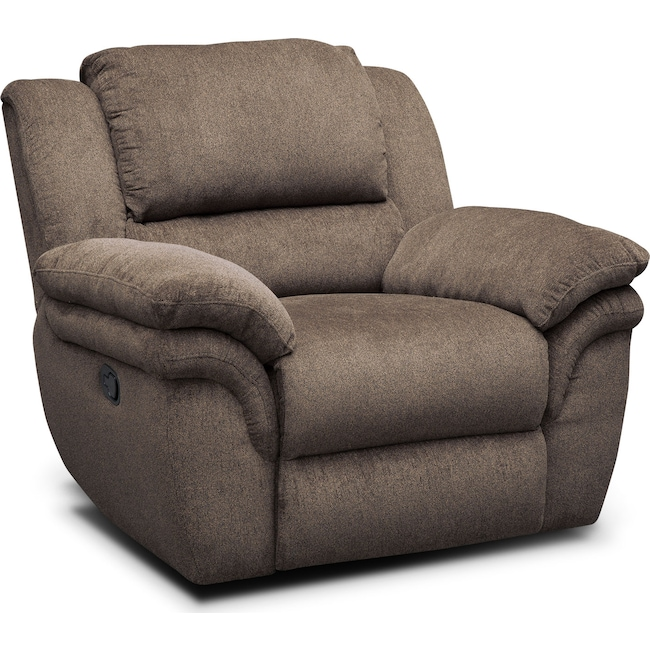 Living Room Furniture - Aldo Manual Recliner - Mocha