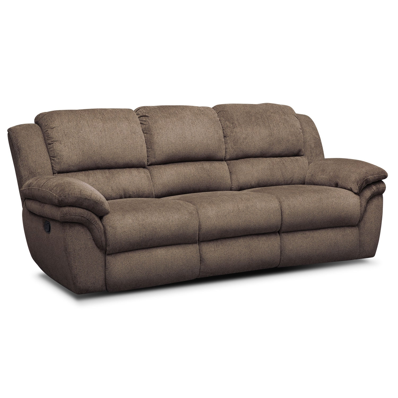 Living Room Furniture - Omni Mocha Manual Reclining Sofa