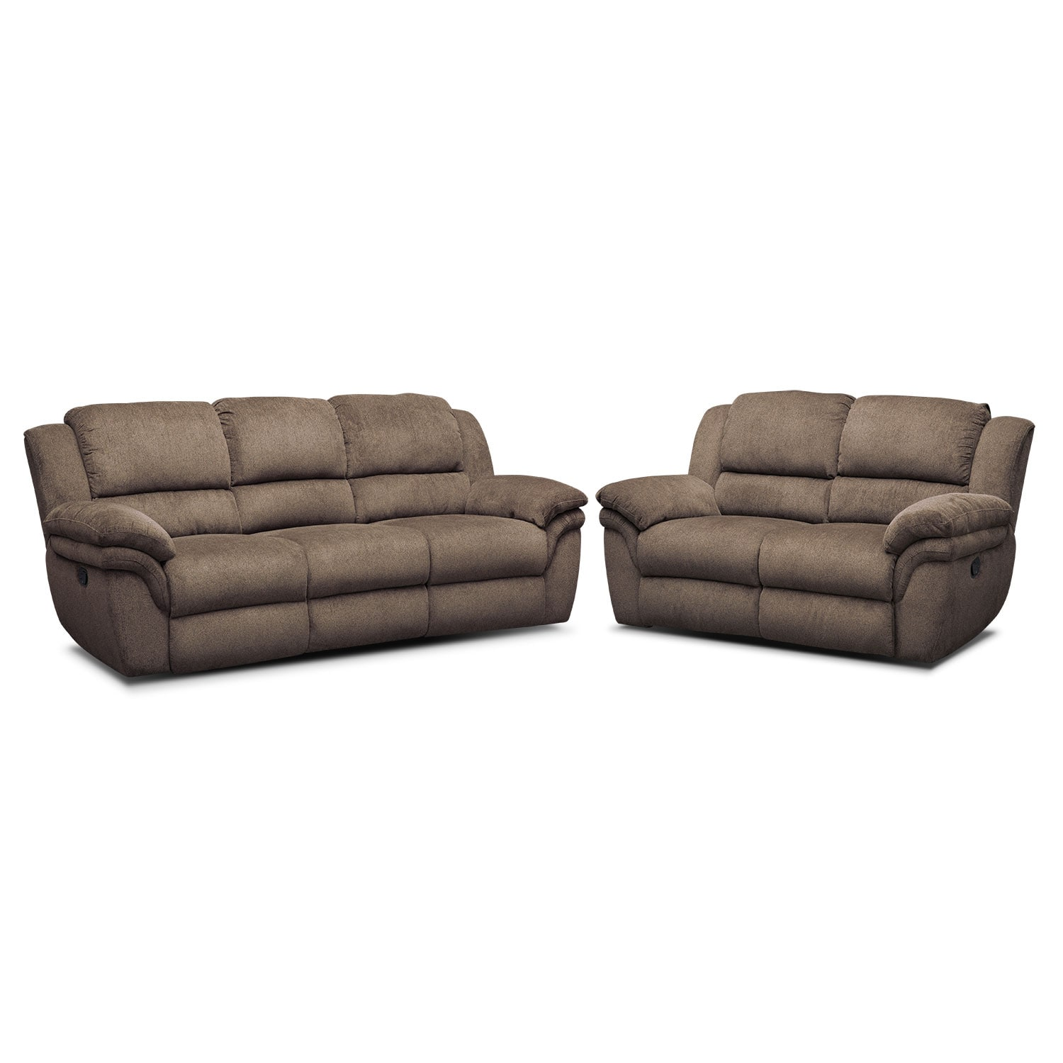 Aldo Manual Reclining Sofa and Loveseat Set Mocha