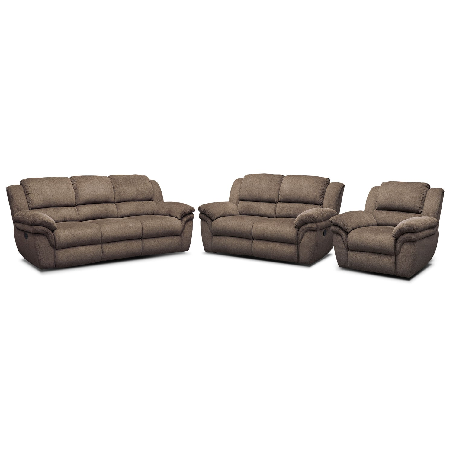 Living Room Furniture - Omni Dual Manual-Reclining Sofa, Dual Manual-Reclining Loveseat and Manual Recliner Set - Mocha