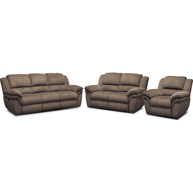 Living Room Furniture - Aldo Manual Dual-Reclining Sofa, Loveseat and Recliner Set - Mocha