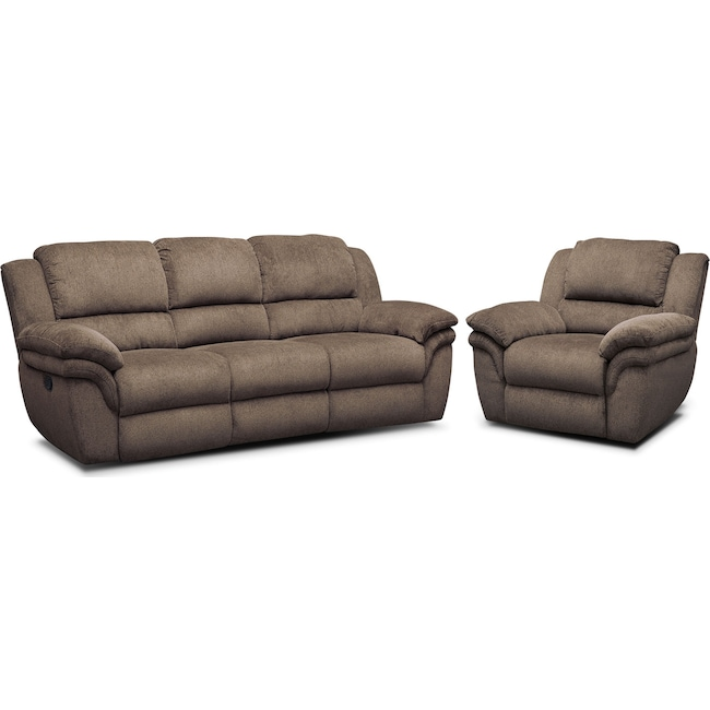 Living Room Furniture - Aldo Manual Reclining Sofa and Recliner Set - Mocha