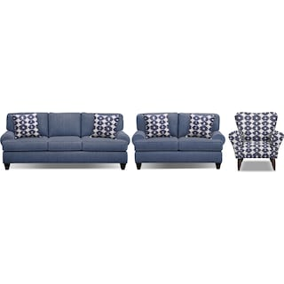 "Bailey Blue 91"" Memory Foam Sleeper Sofa, 67"" Sofa and Accent Chair Set"