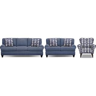 "Bailey Blue 91"" Sleeper Sofa, 67"" Sofa and Accent Chair Set"