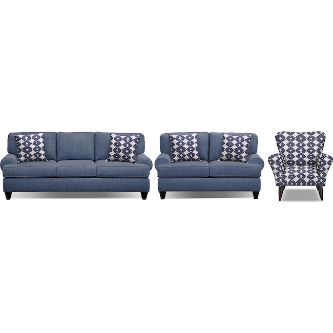 "Living Room Furniture - Bailey Blue 91"" Memory Foam Sleeper Sofa, 67"" Sofa and Accent Chair Set"
