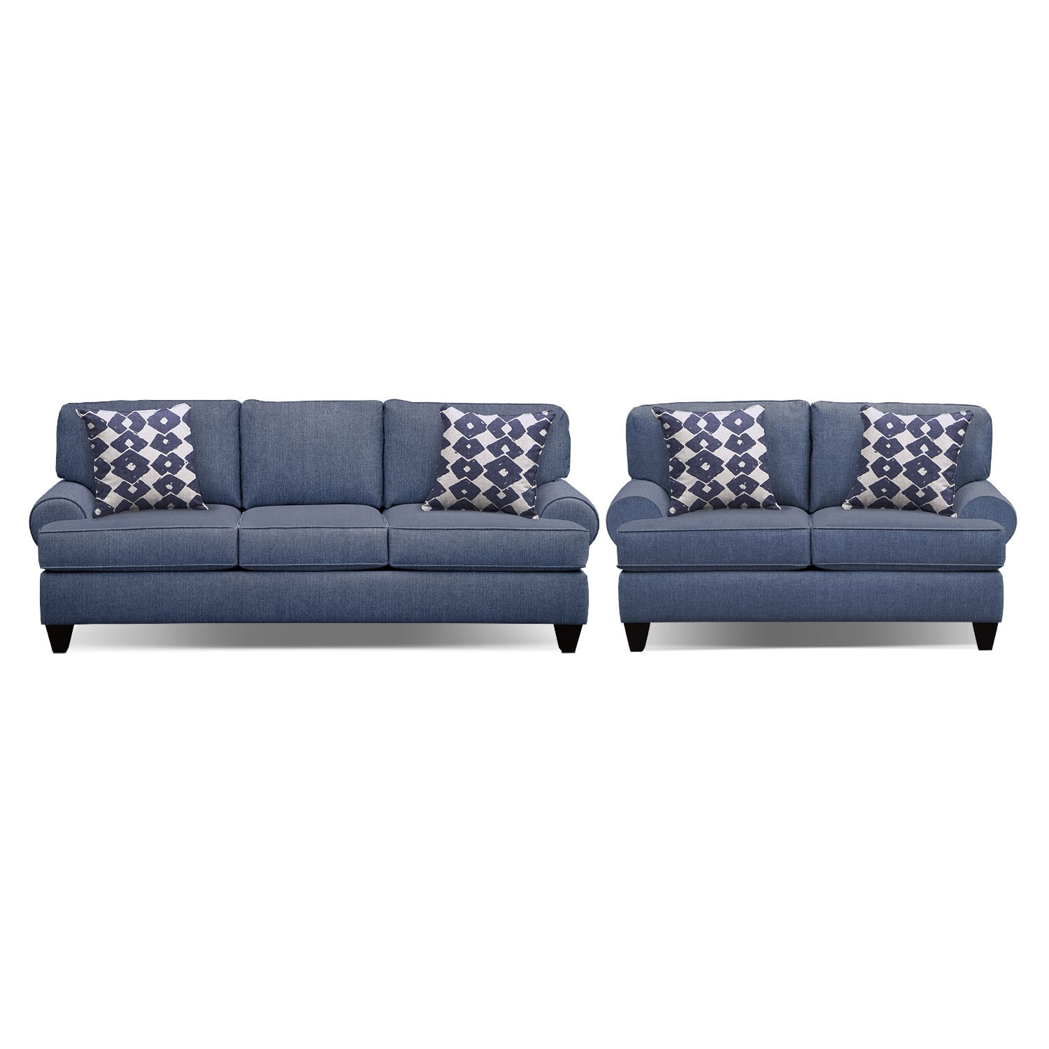"Living Room Furniture - Bailey Blue 91"" Innerspring Sleeper Sofa and 67"" Sofa Set"