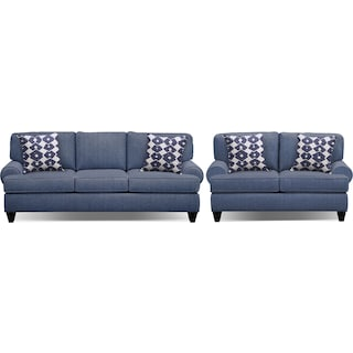 "Bailey Blue 91"" Memory Foam Sleeper Sofa and 67"" Sofa Set"