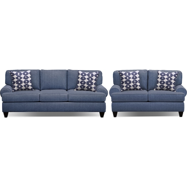 "Living Room Furniture - Bailey Blue 91"" Memory Foam Sleeper Sofa and 67"" Sofa Set"