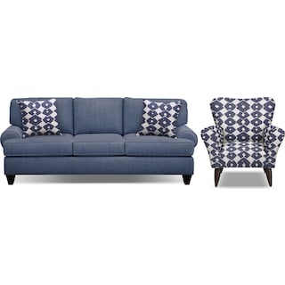 "Bailey Blue 91"" Sofa and Accent Chair Set"