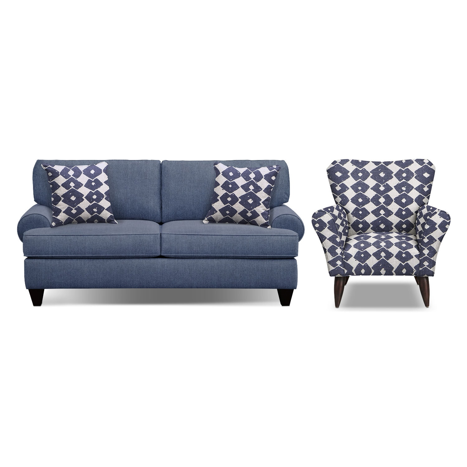 "Living Room Furniture - Bailey Blue 79"" Memory Foam Sleeper Sofa and Accent Chair Set"