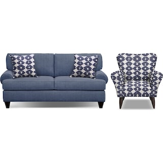 "Bailey Blue 79"" Sofa and Accent Chair Set"