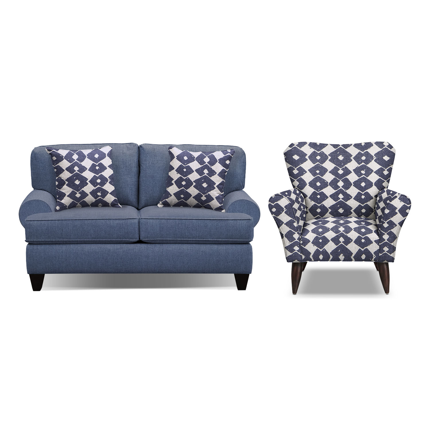 "Bailey Blue 67"" Sofa and Accent Chair Set"