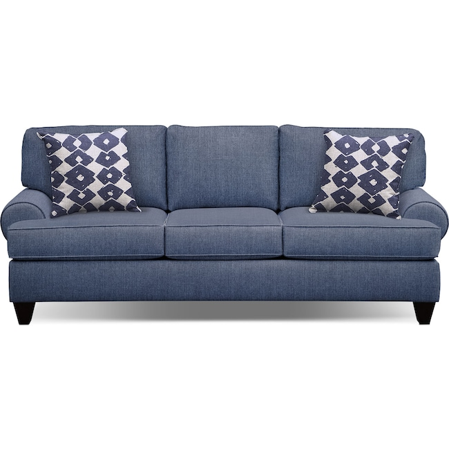 "Living Room Furniture - Bailey Blue 91"" Innerspring Sleeper Sofa"