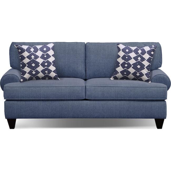 "Living Room Furniture - Bailey Blue 79"" Innerspring Sleeper Sofa"