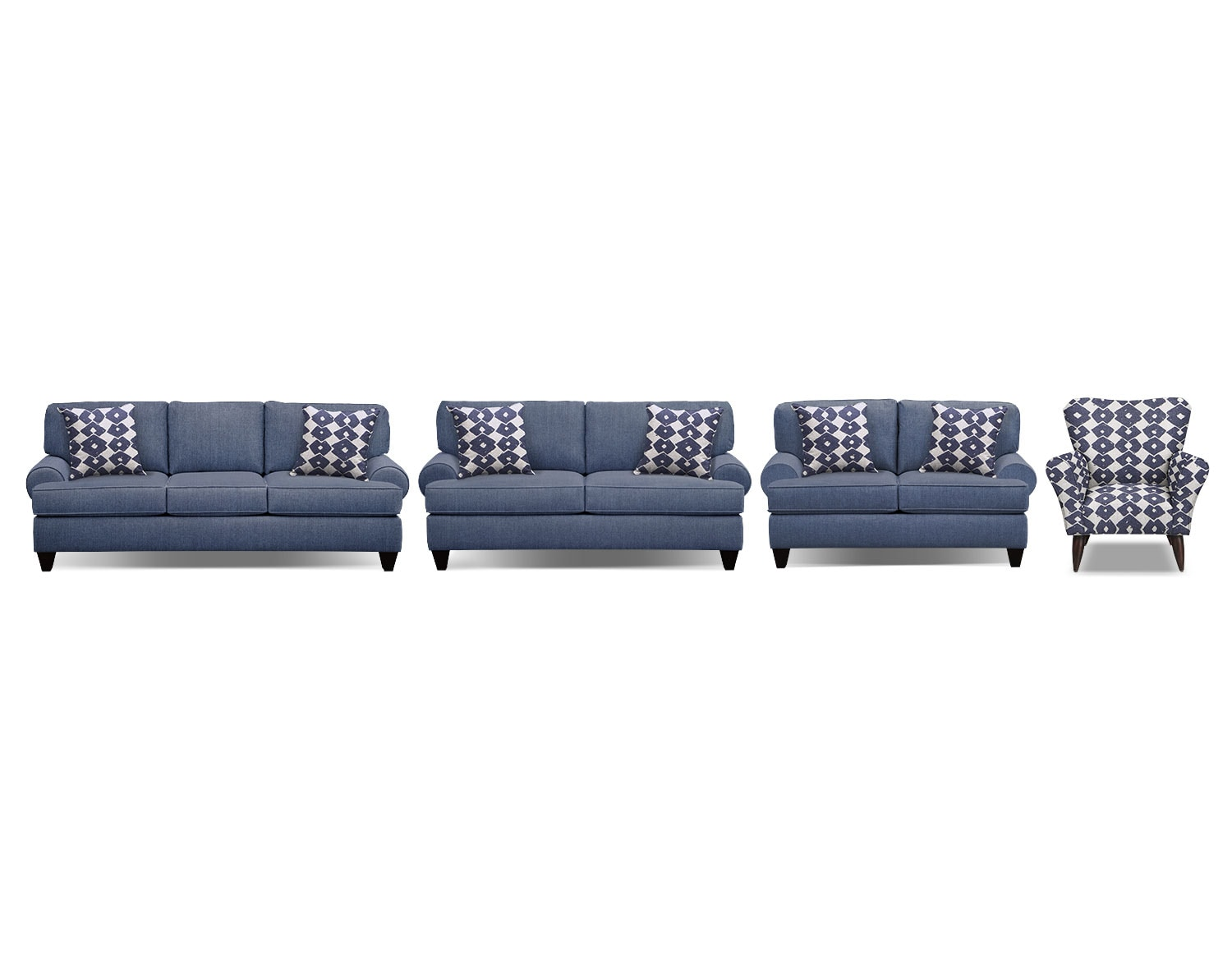 The Bailey Blue Living Room Collection | Value City Furniture and ...