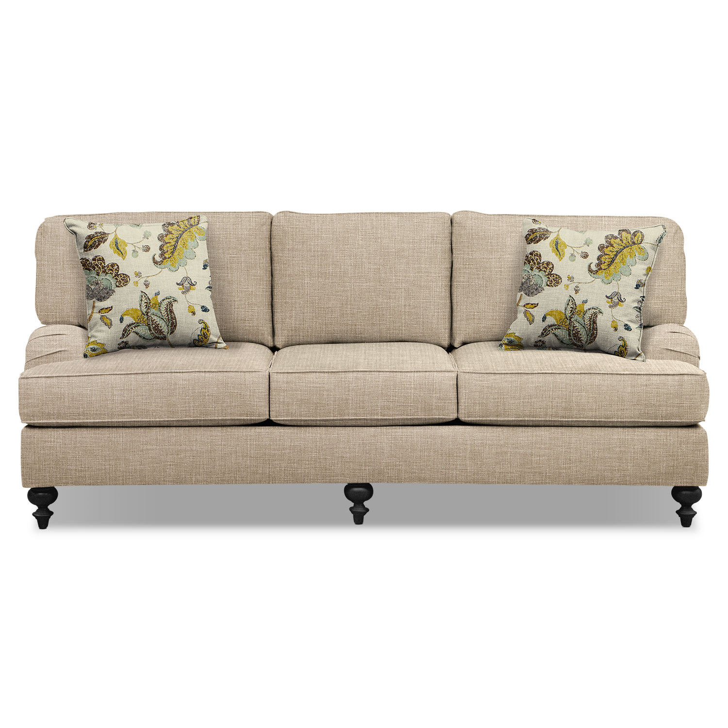"Living Room Furniture - Avery Taupe 86"" Innerspring Sleeper Sofa"