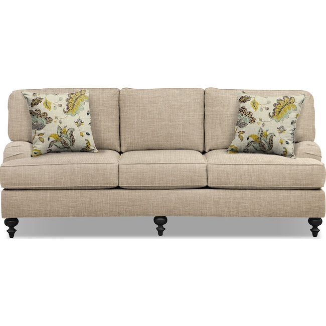"Living Room Furniture - Avery Taupe 86"" Memory Foam Sleeper Sofa"