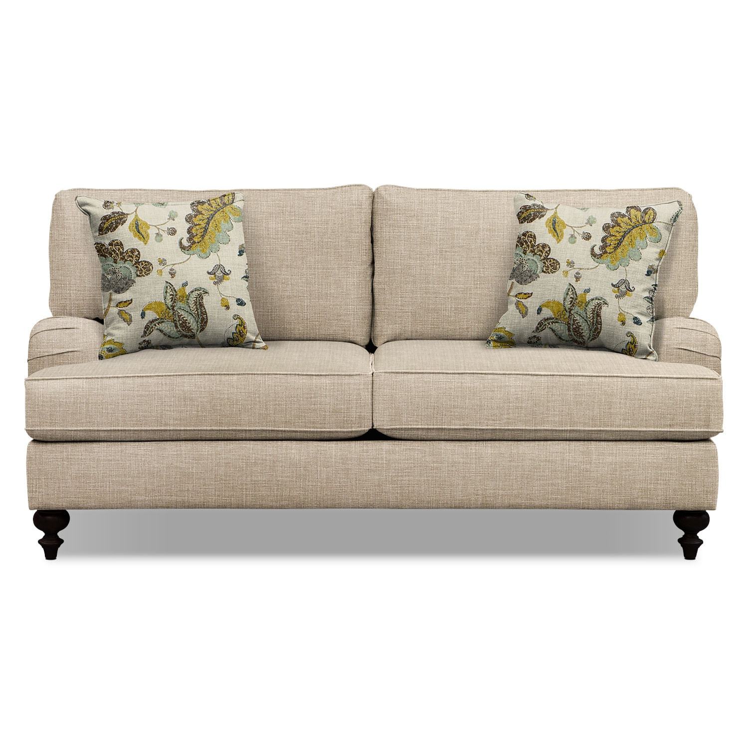 "Living Room Furniture - Avery Taupe 74"" Sofa"