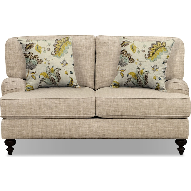 "Living Room Furniture - Avery Taupe 62"" Innerspring Sleeper Sofa"