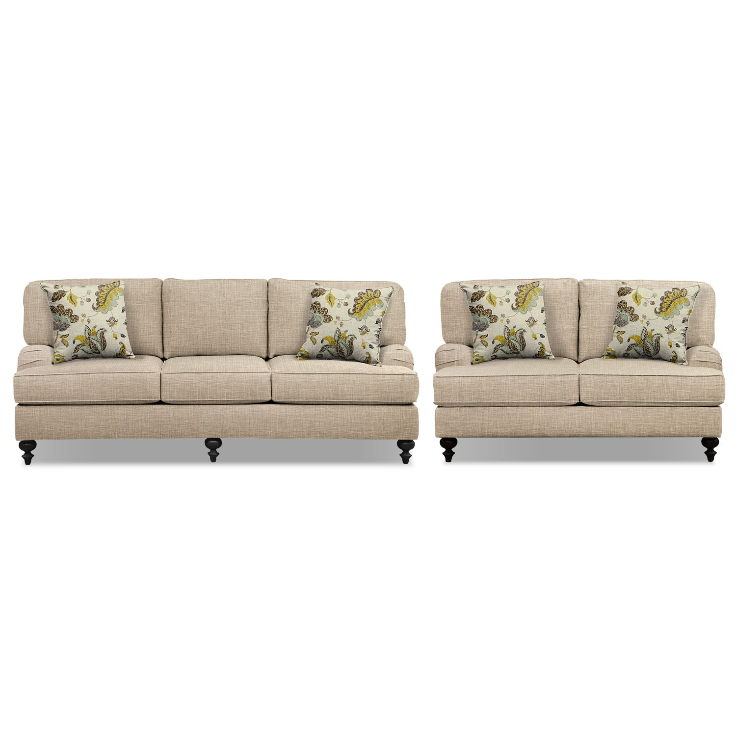 "Avery Taupe 86"" Sofa and 62"" Sofa Set"