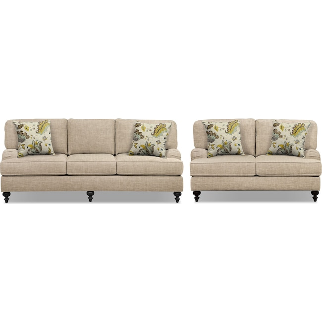 "Living Room Furniture - Avery Taupe 86"" Memory Foam Sleeper Sofa and 62"" Sofa Set"