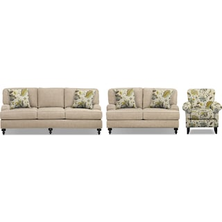 "Avery Taupe 86"" Innerspring Sleeper Sofa, 62"" Sofa and Accent Chair Set"