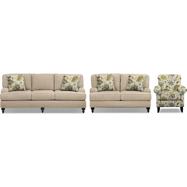 Avery taupe 86 memory foam sleeper sofa 62 sofa and accent chair set by kroehler