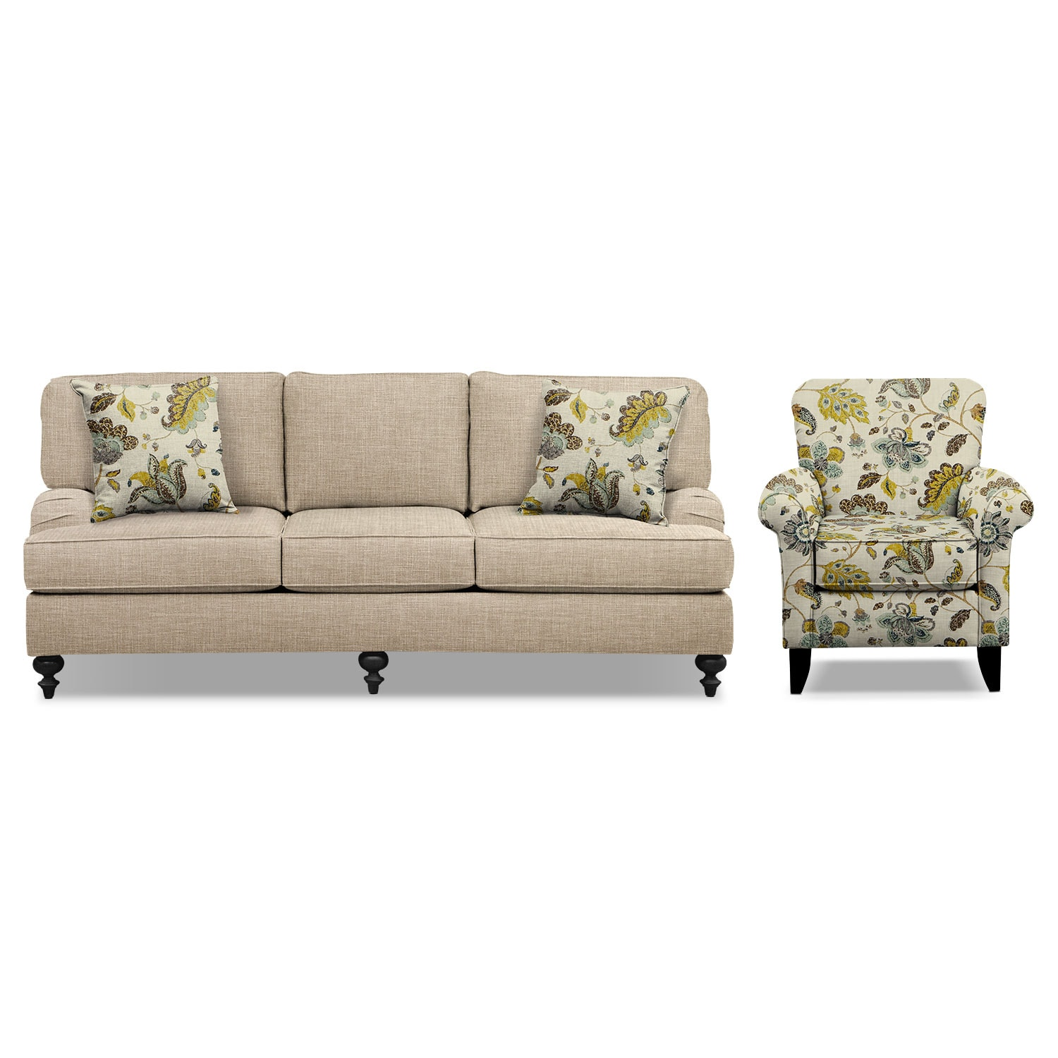 "Living Room Furniture - Avery Taupe 86"" Sofa and Accent Chair Set"