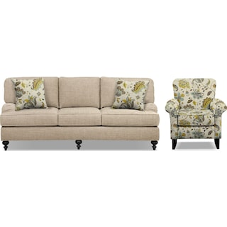 "Avery Taupe 86"" Sofa and Accent Chair Set"