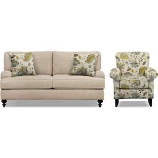 "Avery Taupe 74"" Memory Foam Sleeper Sofa and Accent Chair Set"